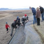 Students help with erosion control works